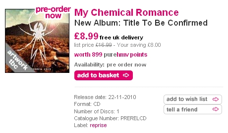 HMV.com Retract Album Title